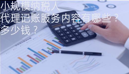 小规模纳税人代理记账服务内容有哪些?多少钱?